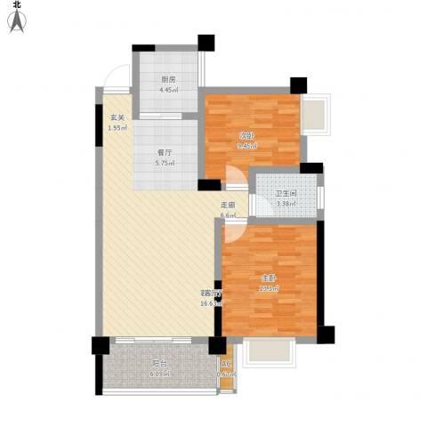 中江国际花城2室1厅1卫1厨99.00㎡户型图