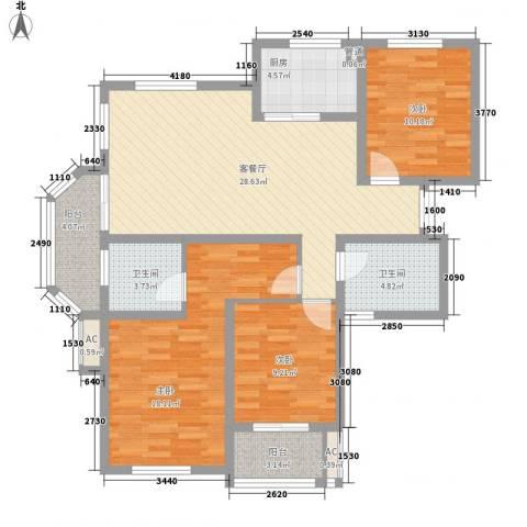新城公园壹号3室1厅2卫1厨128.00㎡户型图