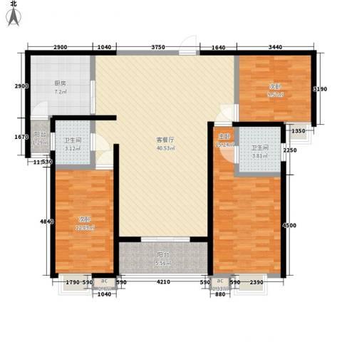 枫景观天下3室1厅2卫1厨142.00㎡户型图
