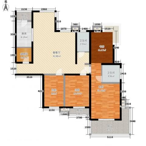 枫景观天下3室1厅2卫1厨172.00㎡户型图