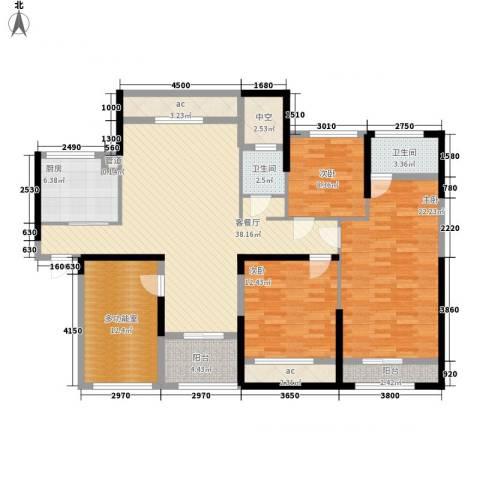 中航山水蓝天3室1厅2卫1厨175.00㎡户型图