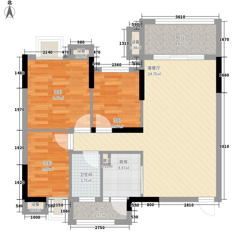 理想家园88.00㎡怡康阁(10栋)奇数层03单元户型3室2厅1卫