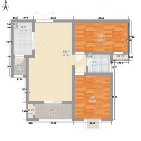 君廷上院2室1厅1卫1厨89.00㎡户型图