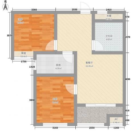 石臼老街2室1厅1卫1厨84.00㎡户型图