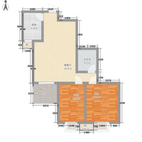 世融嘉城2室1厅1卫1厨96.00㎡户型图