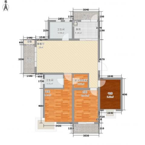 荣亨逸都3室1厅2卫1厨128.00㎡户型图