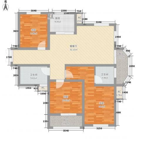 新城公园壹号3室1厅2卫1厨132.00㎡户型图