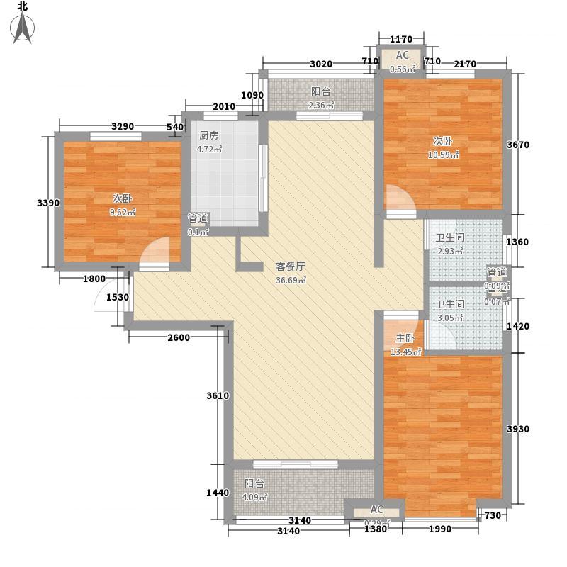 达世地产壹江城129.00㎡壹江城户型图7#03户型3室2厅2卫1厨户型3室2厅2卫1厨
