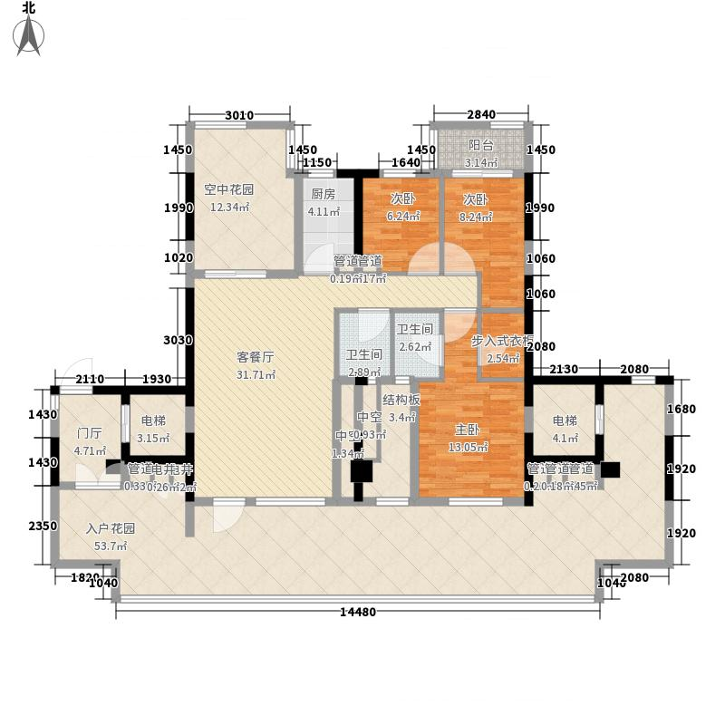 永年天墅157.86㎡西浦路29号1702单元户型3室2厅2卫1厨