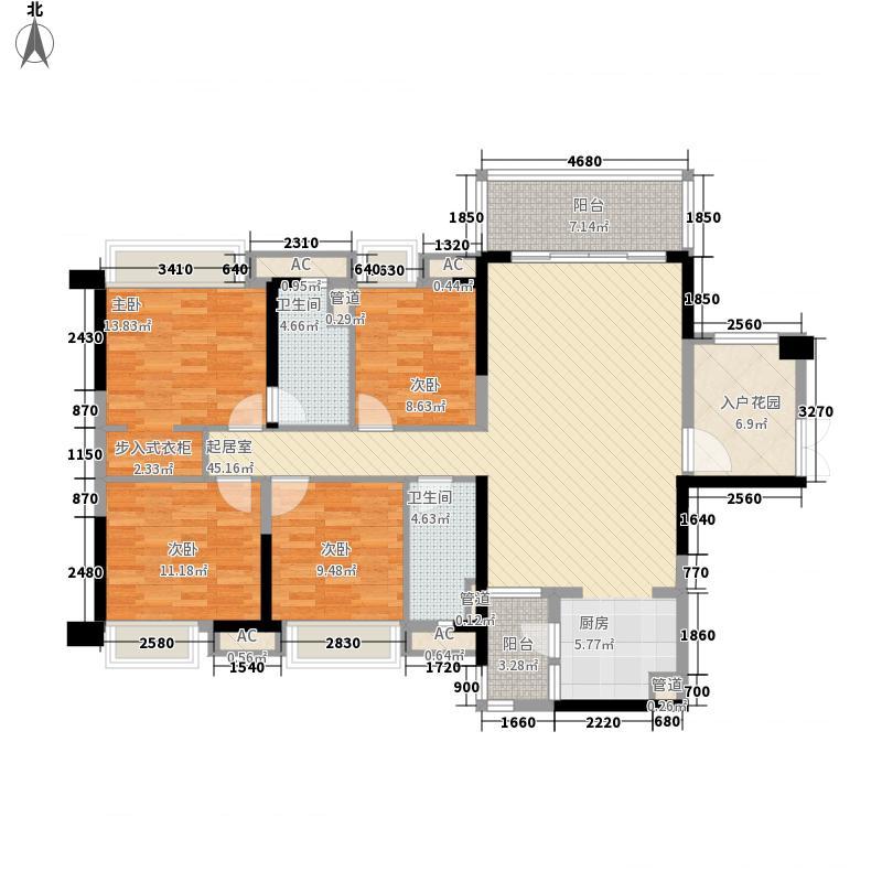 保利中央公馆14.00㎡14座01单元户型4室2厅2卫1厨