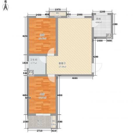 达世地产壹江城2室1厅1卫1厨96.00㎡户型图