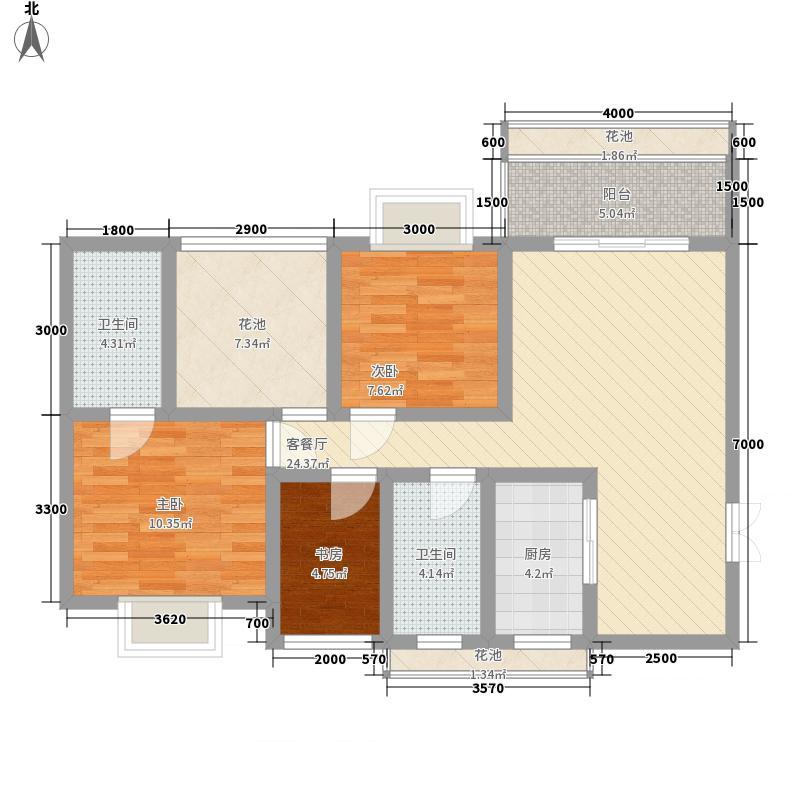 天赐红树城3.32㎡A2户型3室2厅2卫1厨