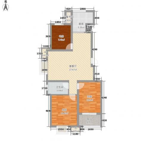 御山雅苑3室1厅1卫1厨73.23㎡户型图