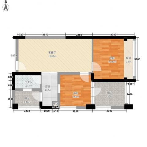 天利中央花园2室1厅1卫1厨65.00㎡户型图