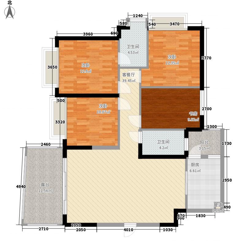 阳光海岸135.48㎡2幢1单元03户型4室2厅2卫1厨