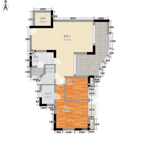 沙田东港城二期2室1厅2卫1厨101.00㎡户型图