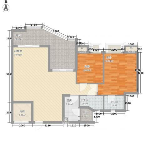 沙田东港城二期2室0厅2卫1厨101.00㎡户型图