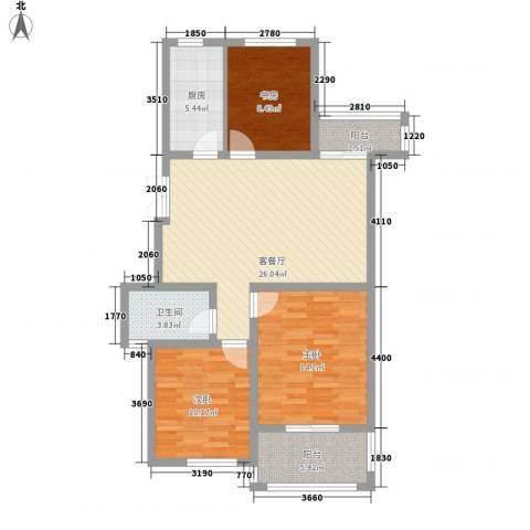 新城公园壹号3室1厅1卫1厨110.00㎡户型图