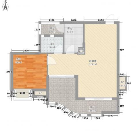 沙田东港城二期1室0厅1卫1厨70.00㎡户型图