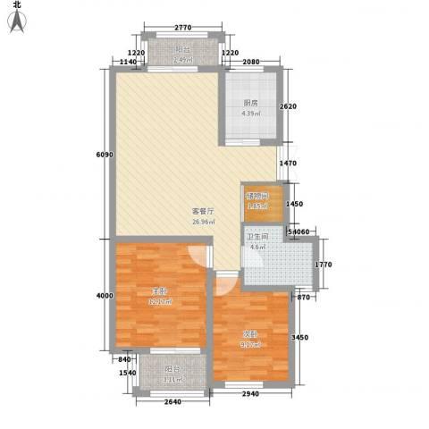 新城公园壹号2室1厅1卫1厨94.00㎡户型图