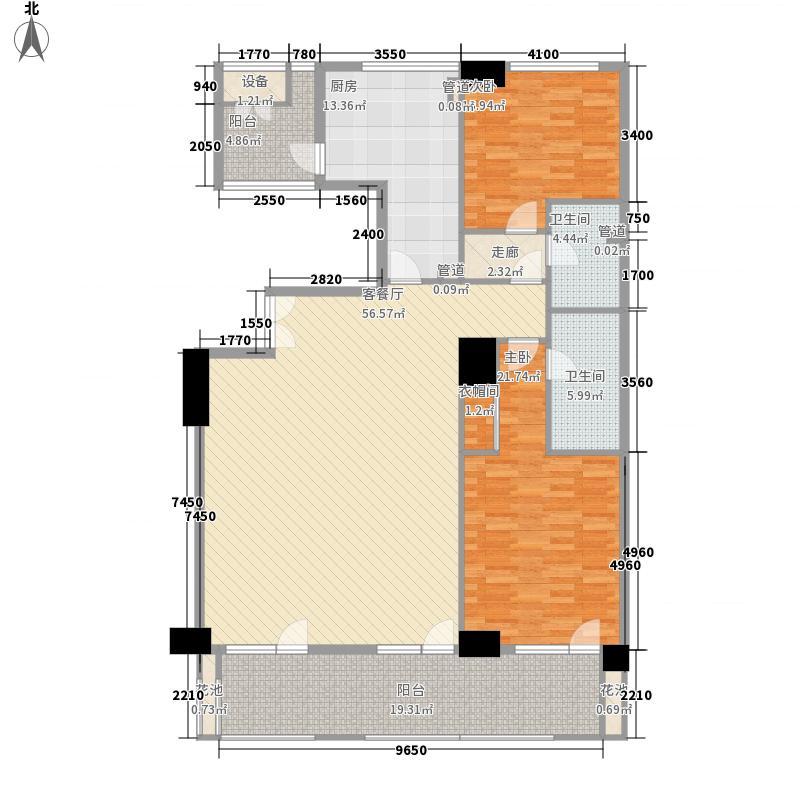 海碧台1.30㎡C2户型2室2厅2卫1厨