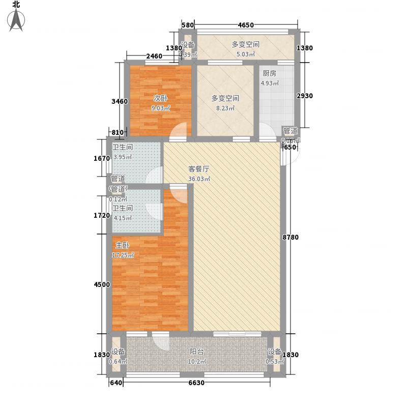 勒泰城124.75㎡E户型3室2厅2卫1厨