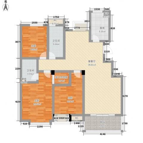 西城十二庭院3室1厅2卫1厨138.00㎡户型图