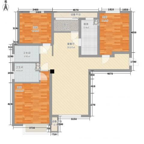 宝能城3室1厅2卫1厨131.00㎡户型图