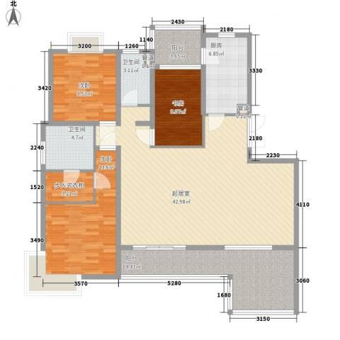 鹏欣一品漫城三期3室0厅2卫1厨157.00㎡户型图