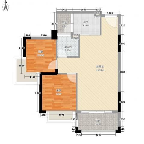 雍景家园2室0厅1卫1厨79.00㎡户型图