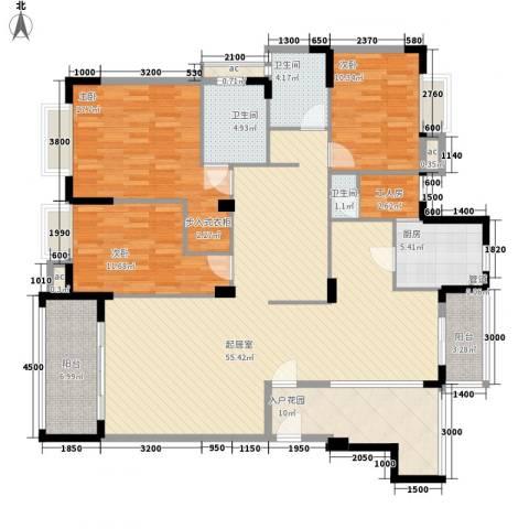 东泰花园泰华苑3室0厅3卫1厨142.00㎡户型图