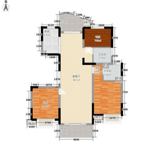 江海皇都3室1厅2卫1厨139.00㎡户型图