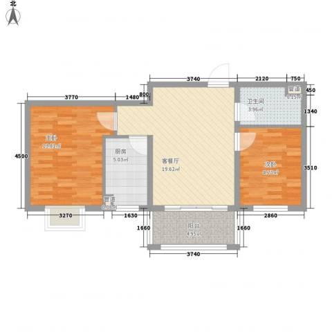 广泰瑞景城2室1厅1卫1厨81.00㎡户型图