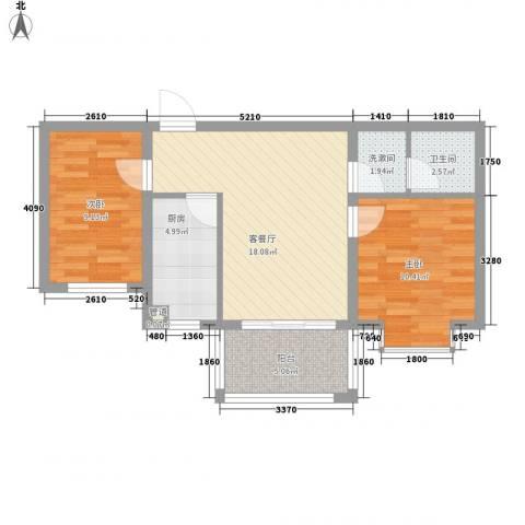 广泰瑞景城2室1厅1卫1厨75.00㎡户型图