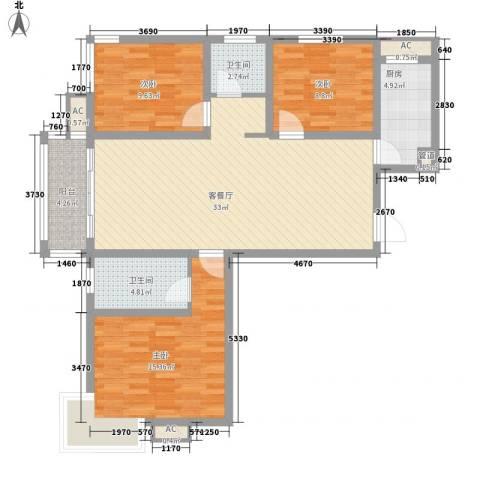 广泰瑞景城3室1厅2卫1厨124.00㎡户型图