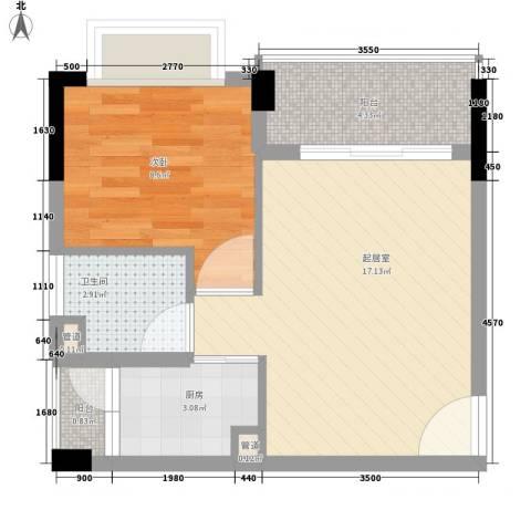 雍景家园1室0厅1卫1厨48.00㎡户型图
