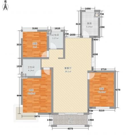 广泰瑞景城3室1厅2卫1厨135.00㎡户型图