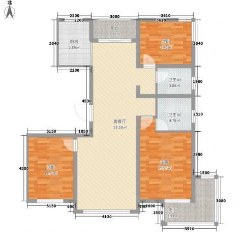 广泰瑞景城3室1厅2卫1厨143.00㎡户型图