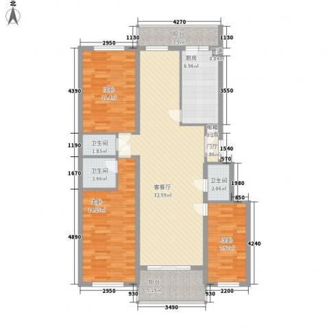 风车小镇3室1厅3卫1厨128.00㎡户型图