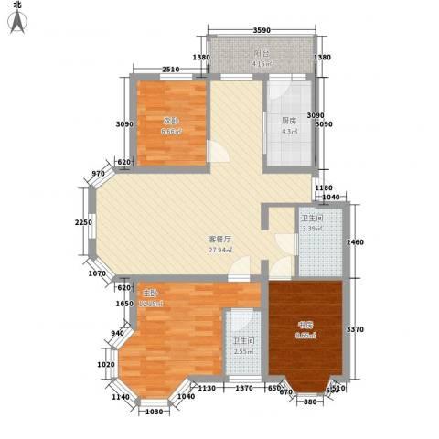 欧美亚世界阳光3室1厅2卫1厨99.00㎡户型图