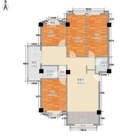 大唐长风一期4室1厅2卫1厨168.00㎡户型图