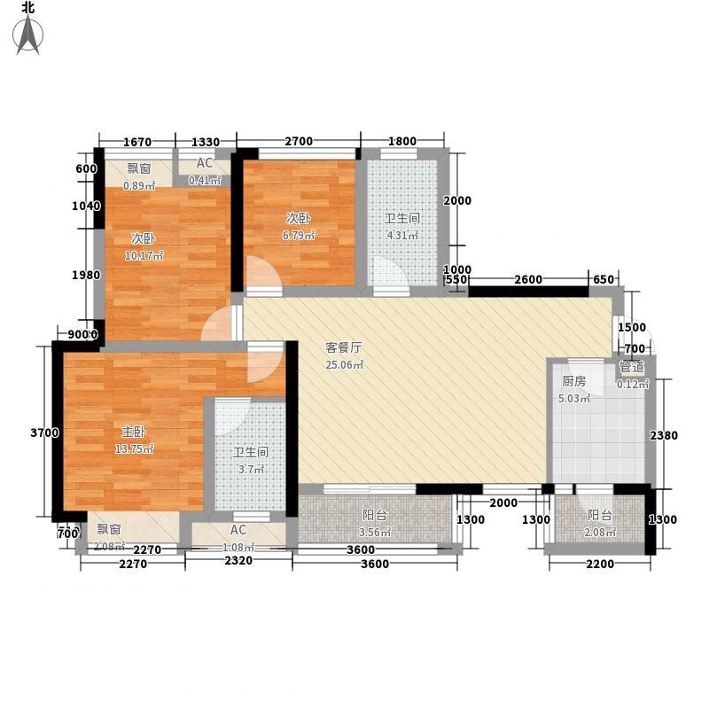 绿地启航社3期12#16栋标准层H1户型3室2厅2卫1厨