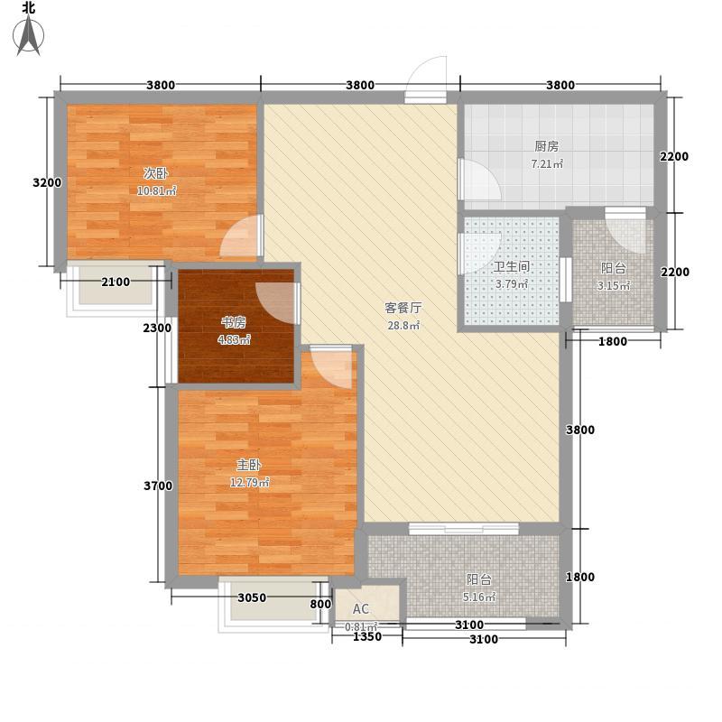君祥御景佳园7.00㎡1#楼南向B户型3室2厅1卫1厨