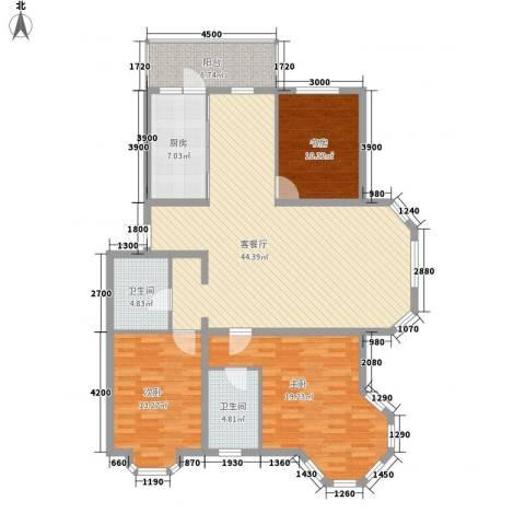 欧美亚世界阳光3室1厅2卫1厨110.62㎡户型图