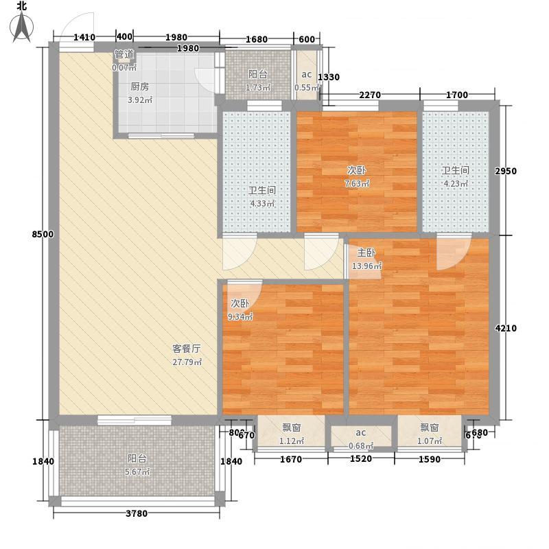 汇商花苑漫城户型图3栋01座01房标准层平面图 3室2厅2卫1厨