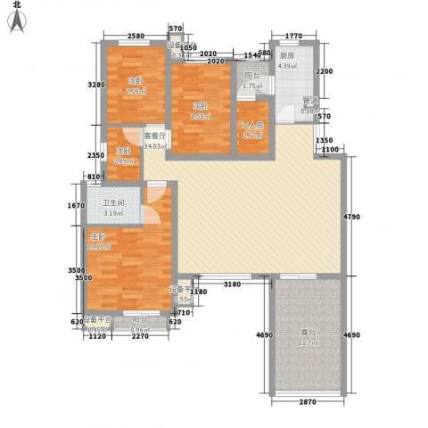 现代经典花园4室1厅1卫1厨92.07㎡户型图