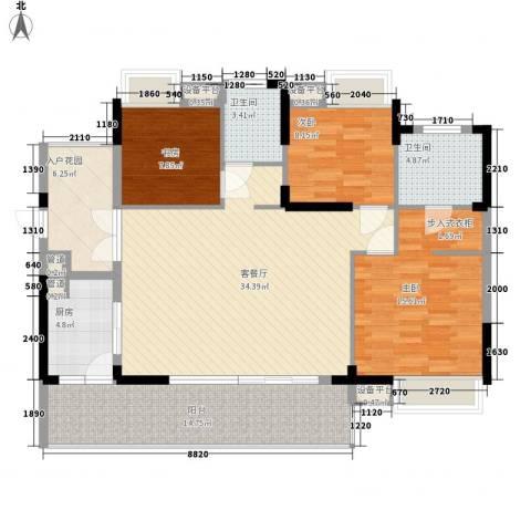 景华城3室1厅2卫1厨144.00㎡户型图