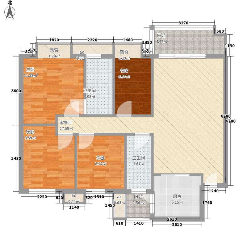 汇商花苑漫城户型图3栋2座01房标准层平面图 4室2厅2卫1厨