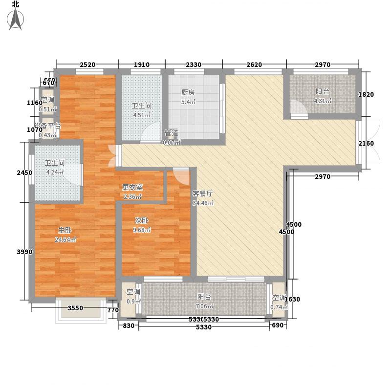 公园一号141.00㎡Q2-3户型3室2厅2卫1厨