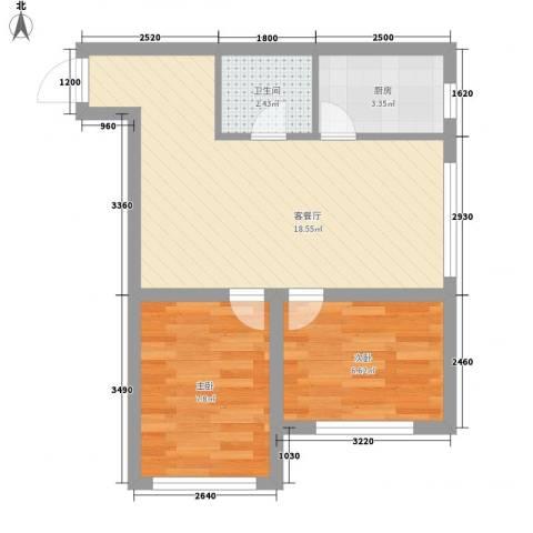 善上居2室1厅1卫1厨58.00㎡户型图